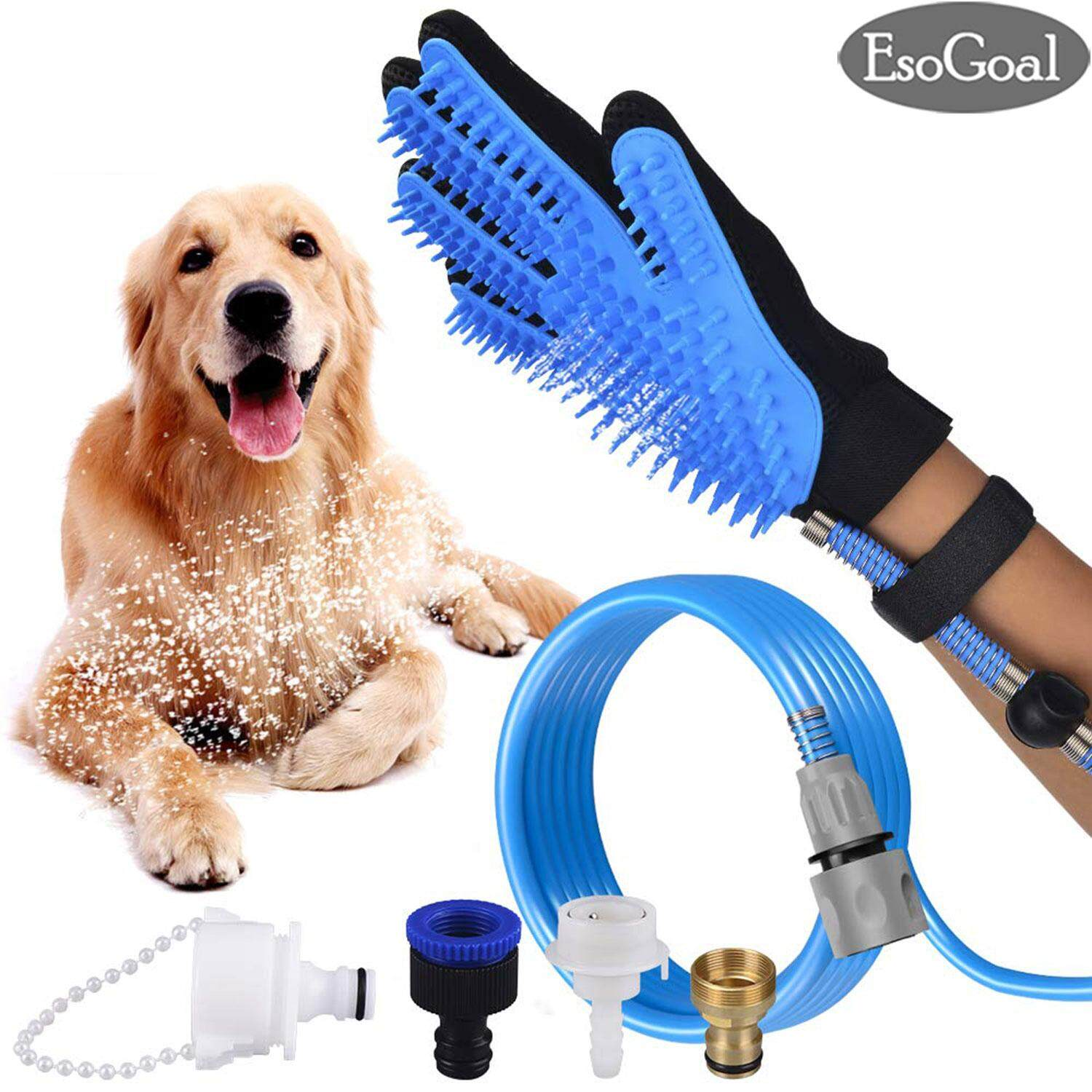 Esogoal Pet Bathing Grooming Gloves Deshedding Brush Glove Pet Shower Sprayer Scrubber Pet Hair Remover Glove Dog Cat Gentle Efficient Massage Grooming Pet Bath Clean Brush Gloves With 3 Faucet Adapters By Esogoal.