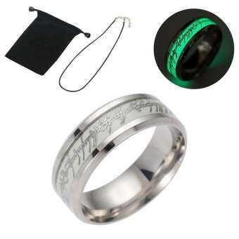 OutFlety Luminous แหวนเงินสแตนเลสแฟชั่นแหวนเรืองแสงใน Dark สำหรับชายหญิงคู่-