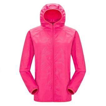 Everygo Men Women แห้งเร็วเล่นกีฬาเสื้อกันฝนเดินป่ากันน้ำแจ็คเก็ตกันลมกลางแจ้งคนรักเสื้อ (สีแดงกุหลาบ) - INTL