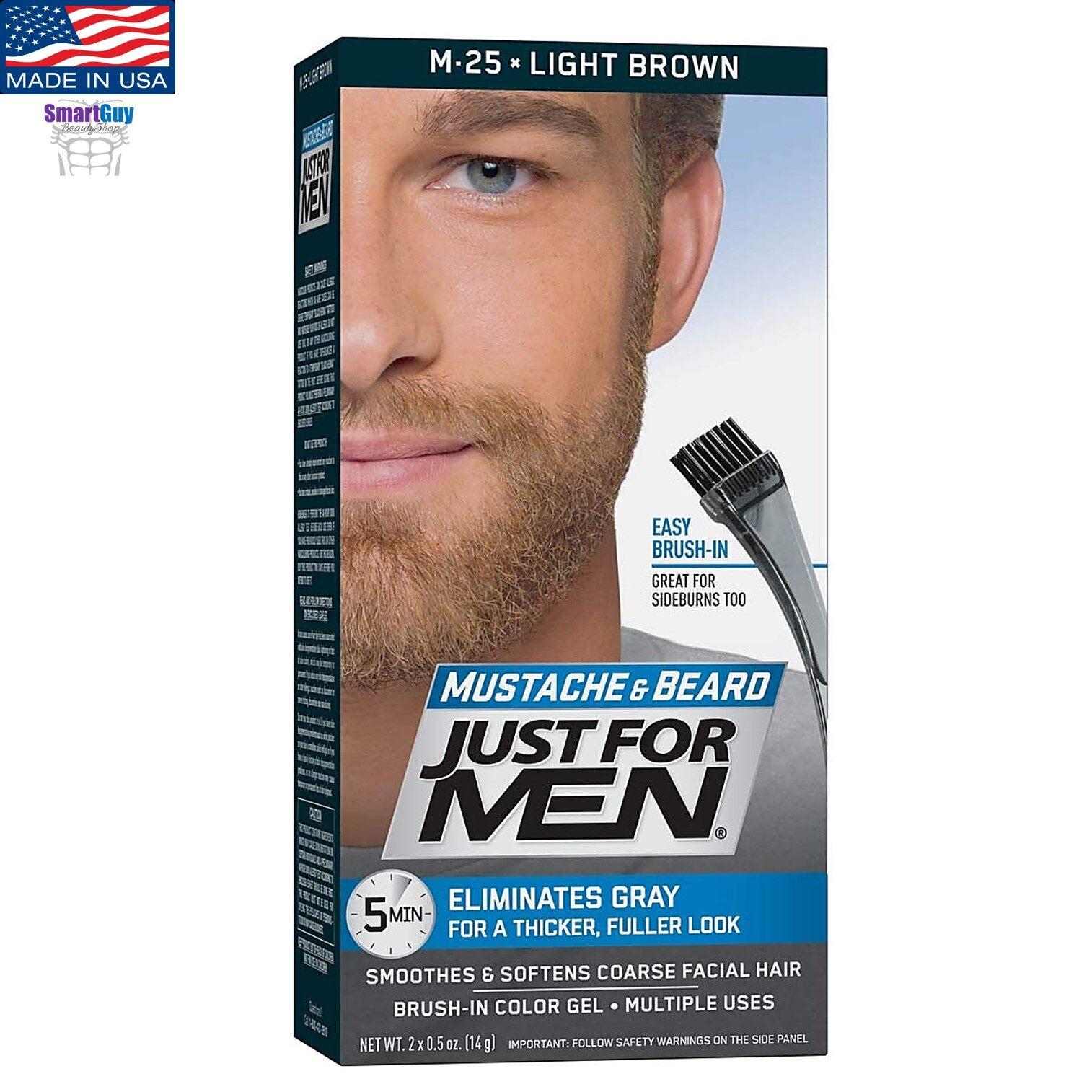 Just For Men Moustache & Beard M25 Light Brown 14g. ครีมเปลี่ยนสีหนวดเคราคิ้วสำหรับผู้ชาย สินค้านำเข้าจากสหรัฐอเมริกา สีน้ำตาลสว่างธรรมชาติ.