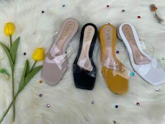 รองเท้าแตะส้นนิดกำลังดี 4 สี พร้อมส่ง งานดี พลาสติกไม่บาดเท้า