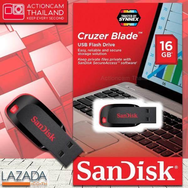 Sandisk Cruzer Blade Usb 2.0 แฟลชไดร์ฟ 16gb Black (sdcz50_016g_b35) เมมโมรี่ แซนดิส แฟลซไดร์ฟ ประกัน Synnex รับประกัน 5 ปี.