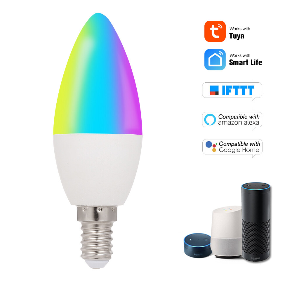 WiFi Smart Bulb RGB+W+C LED Candle Bulb 5W E14 Dimmable Light Phone APP SmartLife/Tuya Remote Control Compatible with Alexa Google Home Tmall Elf for Voice Control, 1 pack