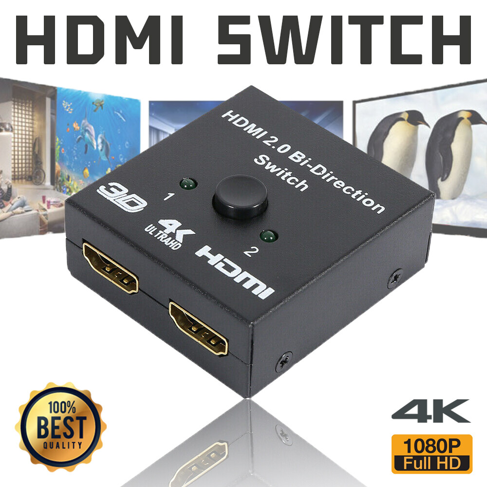 2 Ports Bi-Direction Hdmi Switcher 2x1/1x2 Hub Box Splitter Selector With Hdcp Passthrough Ultra Hd 4k 3d 1080p Support.