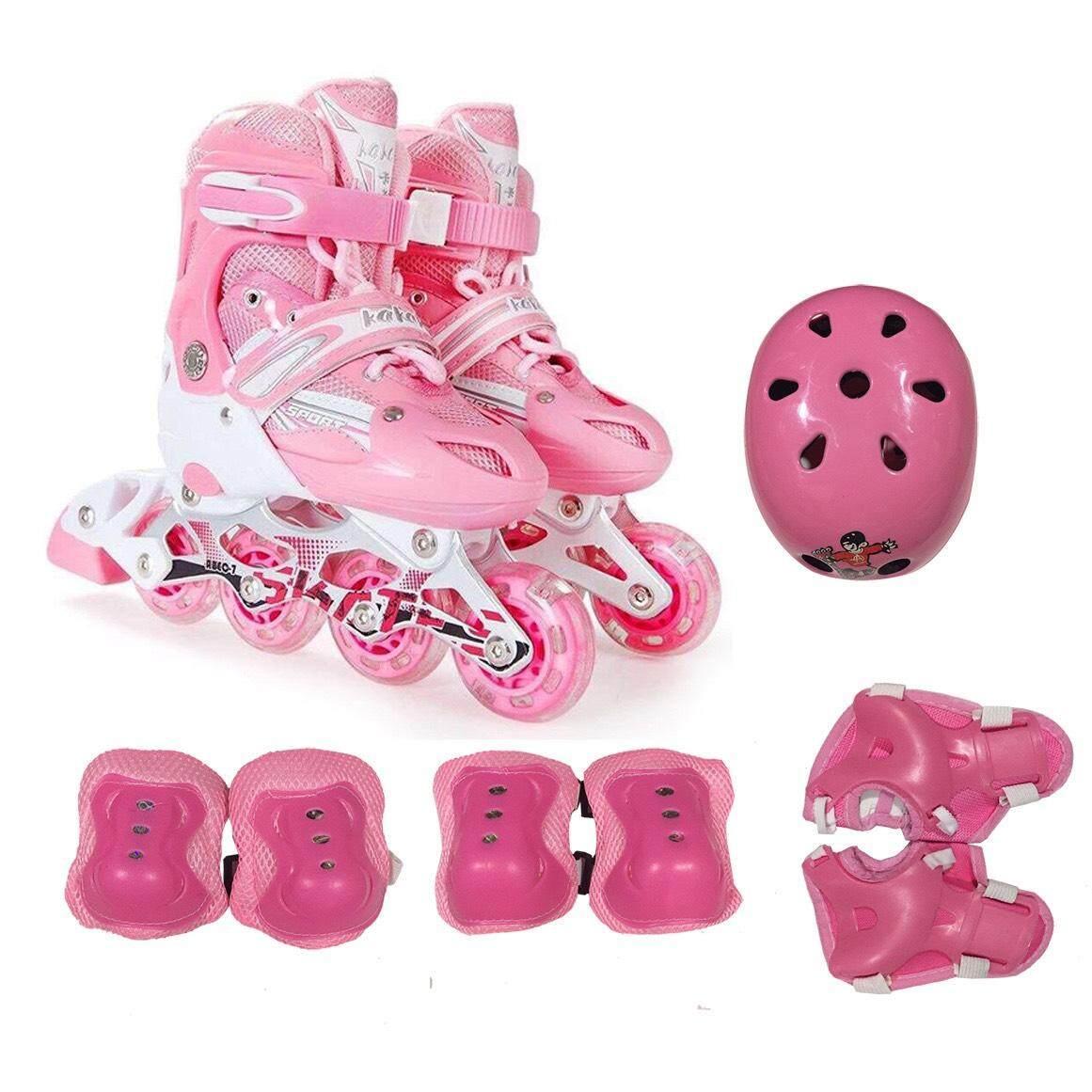 รองเท้าสเก็ต โรลเลอร์เบลด (roller Blade) Size S-31-34 สีชมพู พร้อมชุดป้องกัน6ชิ้นและหมวก1ใบ.