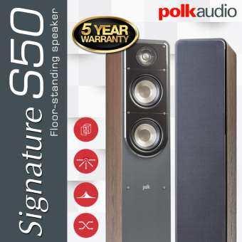Polk Audio Signature S50 (Brown Walnut) Polk S50 Floor-standing speaker สี Brown Walnut ราคาต่อ ลำโพง 1คู่ 2ตัว ซ้าย-ขวา รับประกัน 5 ปี ศูนย์ POWER BUY จากผู้นำเข้าอย่างเป็นทางการ-