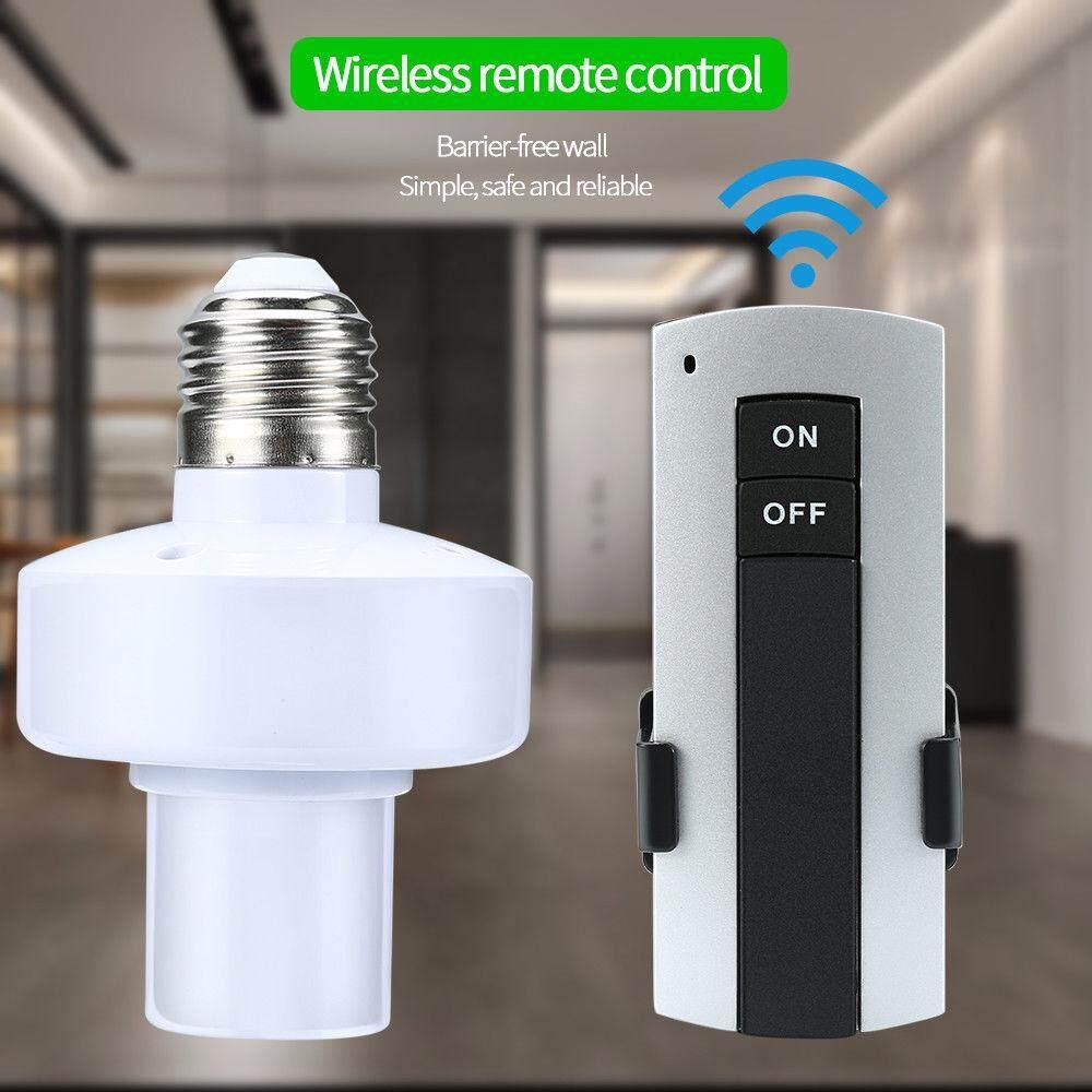 E27 รีโมทคอนโทรลไร้สายหลอดไฟผู้ถือหลอดไฟซ็อกเก็ตโคมไฟผู้ถือหลอดไฟสวิทช์ 220v สำหรับหลอดไฟ Led  Remote Control Lamp Holder Seabuy.