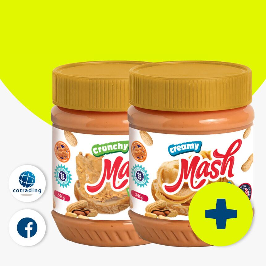 Mash Creamy & Crunchy Peanut Butter (เนยถั่วลิสง ชนิดบดละเอียด) 340g Pack X 2.