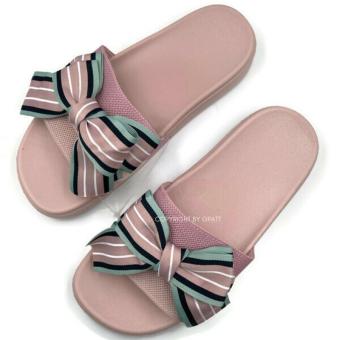 Gpatt : Bow Tie Sandals รองเท้าแตะสวมผู้หญิง รองเท้าแตะสวมแฟชั่นผู้หญิง ลายโบว์กระต่าย รองเท้าแฟชั่นผู้หญิงเก็บทรงเท้าเรียวสวย
