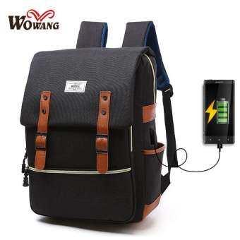 Super Power:กระเป๋าสะพายหลัง (ซิปทอง) WOWANG ของแท้100% กระเป๋าเป้เดินทาง กระเป๋าเป้ผู้ชาย กระเป๋าโน๊ตบุ๊ค กระเป๋าเป้เท่ๆ (มีUSB ชาร์จก)-