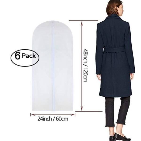 Garment Bag Clear 24 x 48 Inch Long Suit Bag Dust Moth Proof Garment Bags White Breathable Full Zipper Dust Cover for Dance Dress Clothes Pack of 6