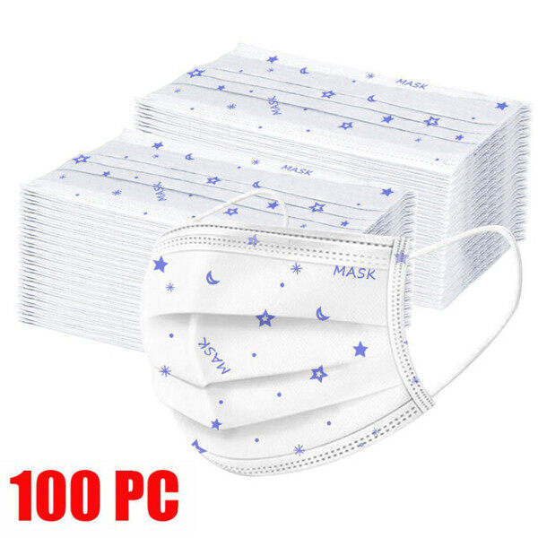 Buy 100PC Disposable Print Face Industrial 3Ply Ear Loop Singapore
