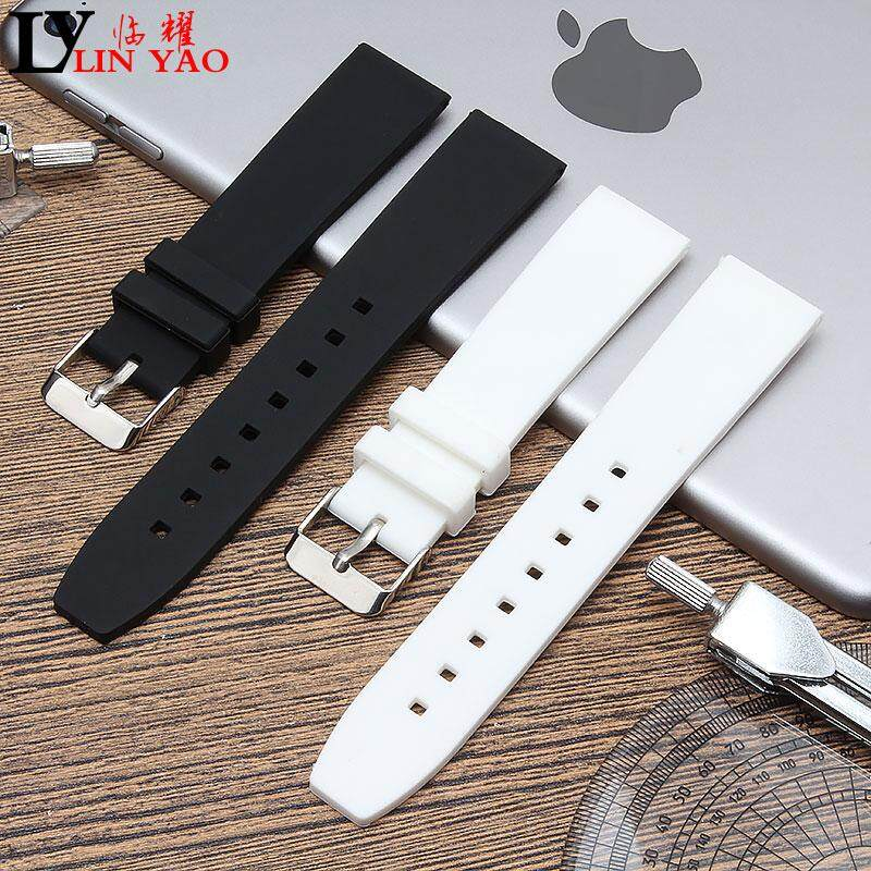 83ee456a9 Silica Gel Rubber Watch Band Black Adaptation Tissot Seiko Casio Timex 18  Natural 20 22 Mm