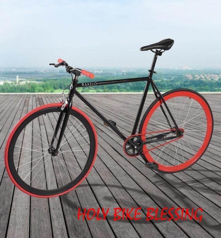 จักรยาน Fix Gear 700c แดง ดำ แถมฟรี !! สายล๊อค ที่ใส่ขวดน้ำ ปั้มลมพกพา กระดิ่ง By Holy Bike Blessing.