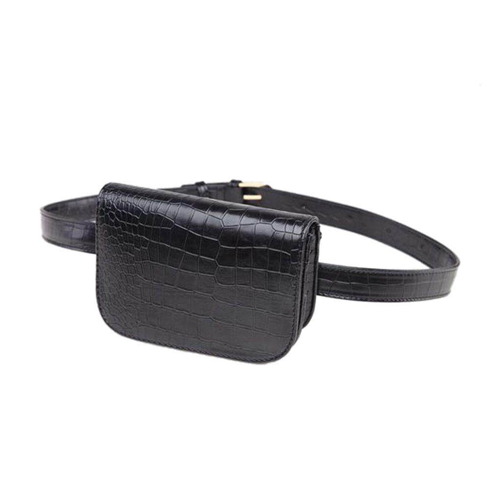 f9857ba76d0 Vintage PU Leather Waist Bag Women Alligator Waist Bag Travel Belt Wallets Fanny  Bags Ladies Black