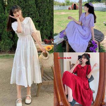 เสื้อผ้ากุลสตรีเกาหลีแฟชั่นสไตล์สีทึบแขนสั้นชุดเดรสเข้ารูป2020ใหม่gentlewomanชุดเดรสน่ารักๆ