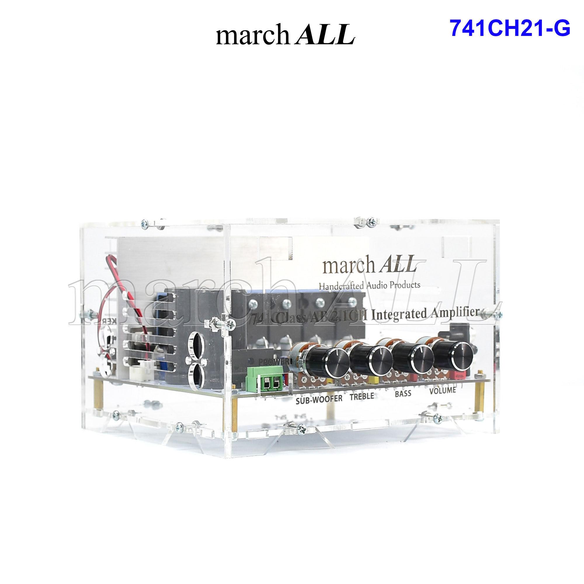 Marchall 741ch21-G ชุดลงเคสใส 741 Amp บอร์ดแอมป์ 2.1 Channel + ซับเบส มีปรีแอมป์ โทน คอนโทรล ปรับทุ้ม แหลม ปรับ ซับวูฟเฟอร์ ได้อิสระ Toshiba ทรานซิสเตอร์ 6 ตัว ซิงค์ พร้อม พัดลม แจ็ค Jack ครบ ต่อลำโพงใช้ได้เลย 741 Class-Ab Integrated Amplifier Subwoofer.