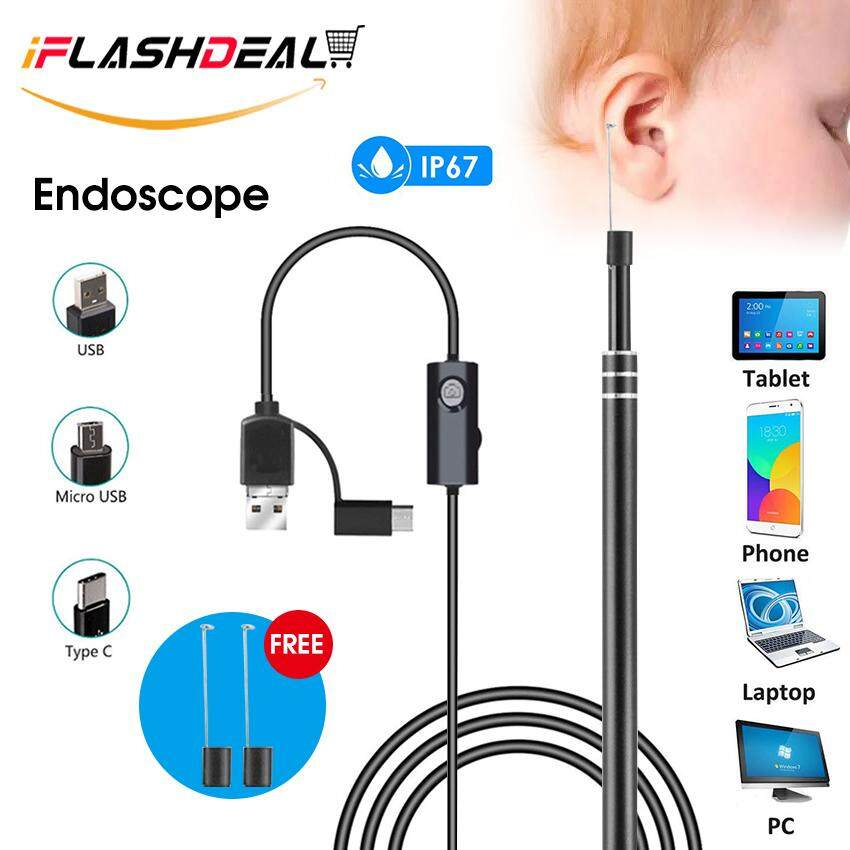 iFlashDeal USB Endoscope Camera Ear Cleaning Digital Microscope 3 in 1 Inspection Cameras HD Visual Earwax Remover Cleaner IP67 Waterproof Borescope Ear Spoon Earpick w/ 6 Adjustable LED Lights