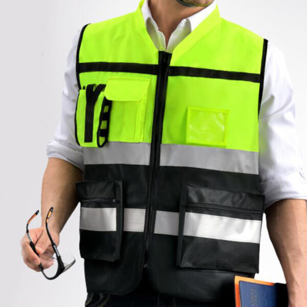 Perfk Reflective High Visibility Safety Vest, Hi Visibility Strip, Men & Women, Work, Cycling, Runner, Surveyor, Crossing Guard, Construction, Neon Yellow F