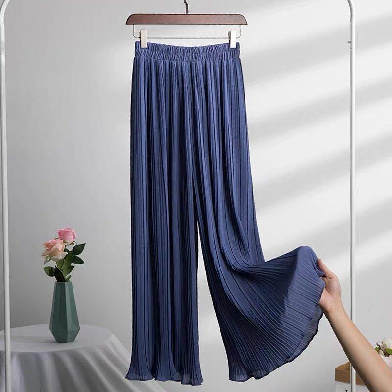 รีวิว กางเกงอัดพลีทขายาว ผ้าไม่บาง ชีฟองอัดพลีท ไซด์ใหญ่ คนอ้วนใส่ได้ เสื้อผ้ามุสลิมผู้หญิง กางเกง908