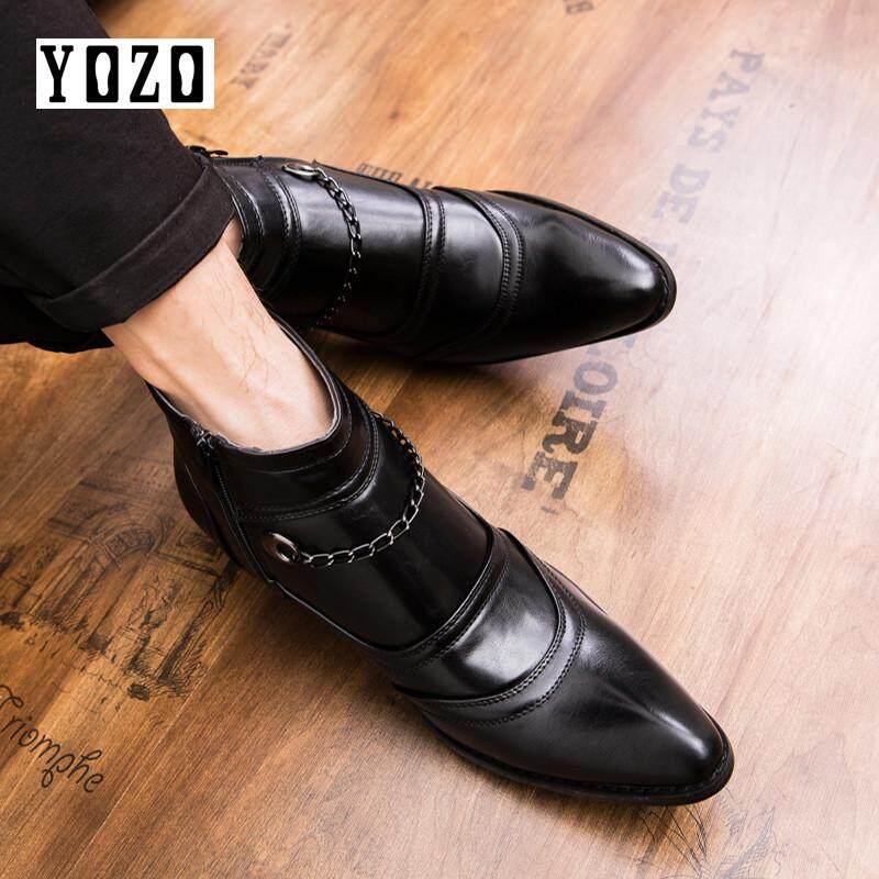 Yozo ผู้ชายรองเท้าบู๊ทย้อนยุค Brogues รองเท้าแฟชั่นหนังแท้หนังผู้ชายสบายๆคุณภาพ - นานาชาติรองเท้าบููทแบบคาวบอยรองเท้าคาวบอย By Zocn.