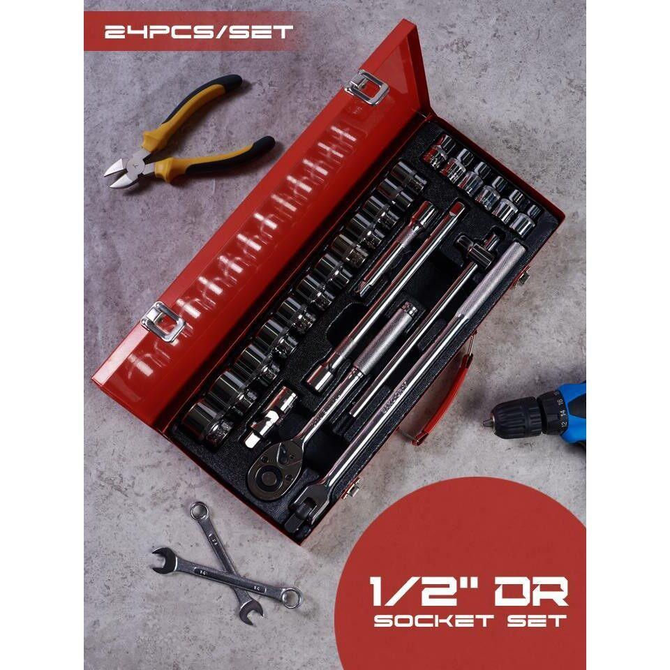 โปรโมชั่น ชุดประแจ ชุดประแจบล็อก ราคาถูก ชุดประแจและบล็อกเซ็ต 24 ชิ้น 1/2  Dr Socket Set (24piece).