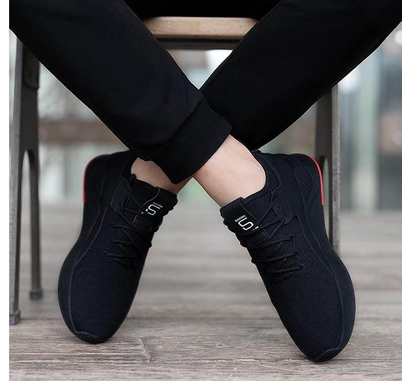 Max รองเท้าผ้าใบ รองเท้าผ้าใบผู้ชาย รองเท้าแฟชั่น (สีดำ) รุ่น 2107