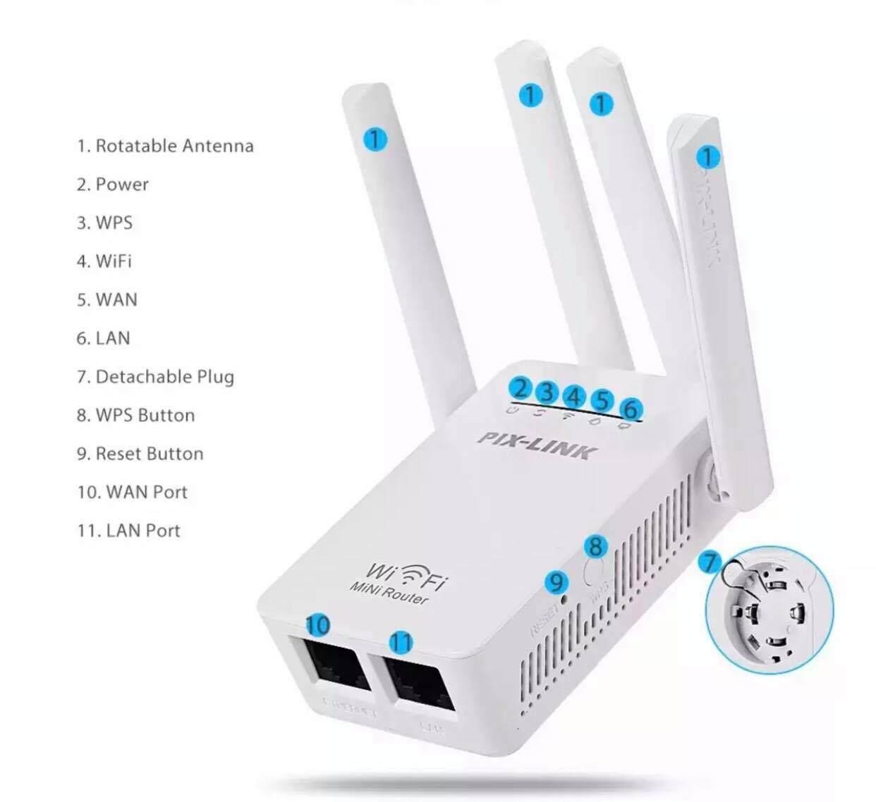 Pixlink Lv-Wr09 บ้าน Mini Ac 1200m Bps Wireless Wifi Router ช่วงสัญญาณ Extender 4 ภายนอกเสาอากาศ.