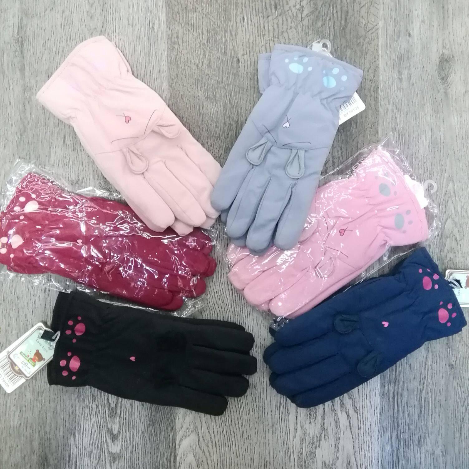 ถุงมือสกีกันหิมะเด็กหญิงมีบุขนนิ่มๆด้านในสีสดใส.