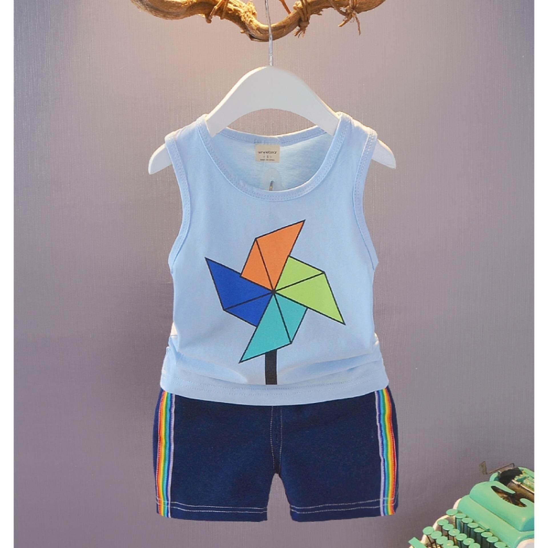 เสื้อกล้าม+กางเกง ลายกังหันสุดน่ารัก Kids Clothes ผ้านุ่มใส่สบาย ไซส์ 70-140 ซม./6 เดือน-10 ปี By Pae Kids Shop.