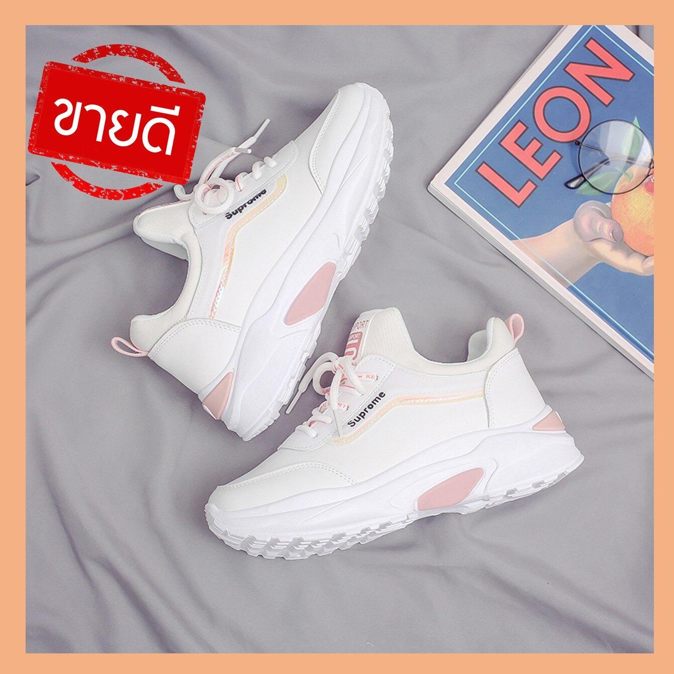 Tarashop (มาใหม่) รองเท้าผ้าใบ รองเท้าแฟชั่น รองเท้าผ้าใบผู้หญิง เสริมส้น 4.5 ซม. (ไซส์เล็กควรสั่งเผื่อไซส์).