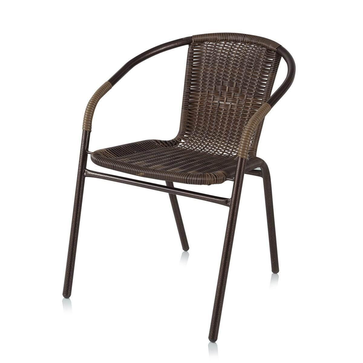 Heap เก้าอี้เหล็กสานหวายเทียม รุ่น Sc037 สีน้ำตาล.