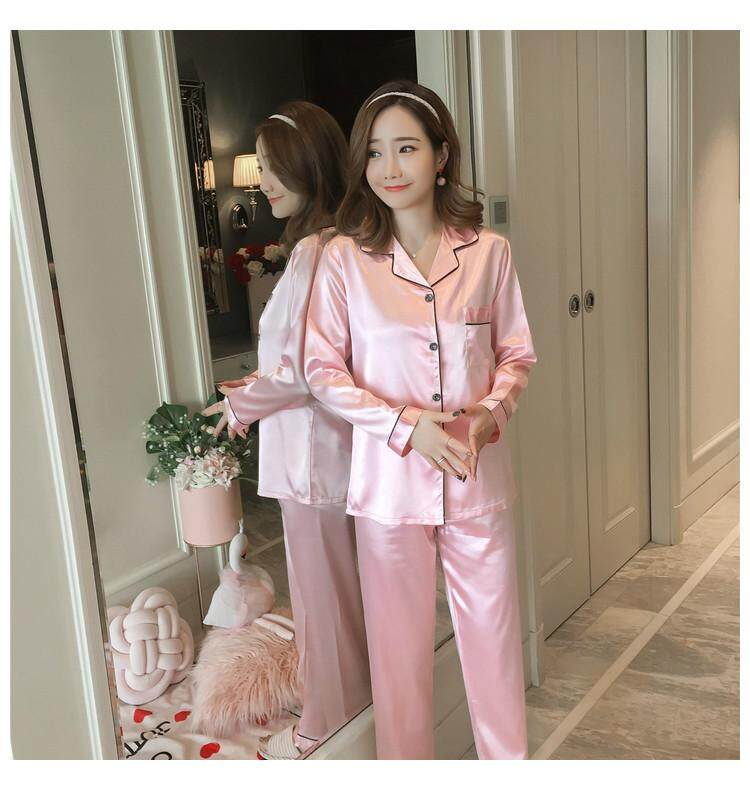 62fc0861c Spring And Autumn Pajamas women Viscose Long Sleeve Silk Set Summer Thin  Section Home Service Large