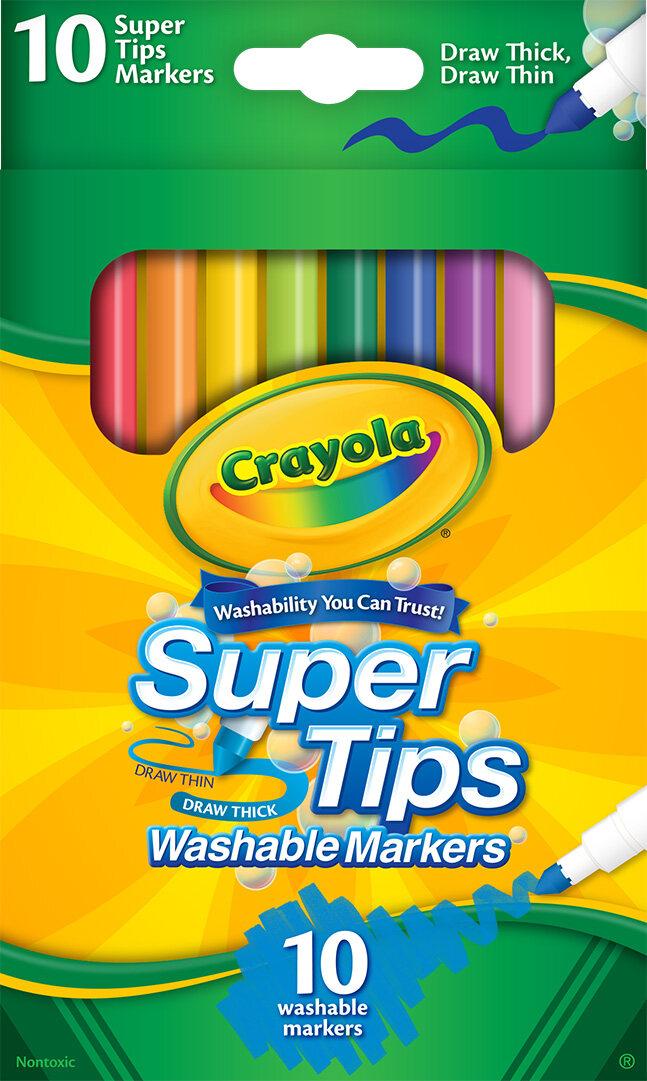 Crayola สีเมจิกล้างออกได้ ซุปเปอร์ทิปส์ 10สี ( Crayola Supertips ).