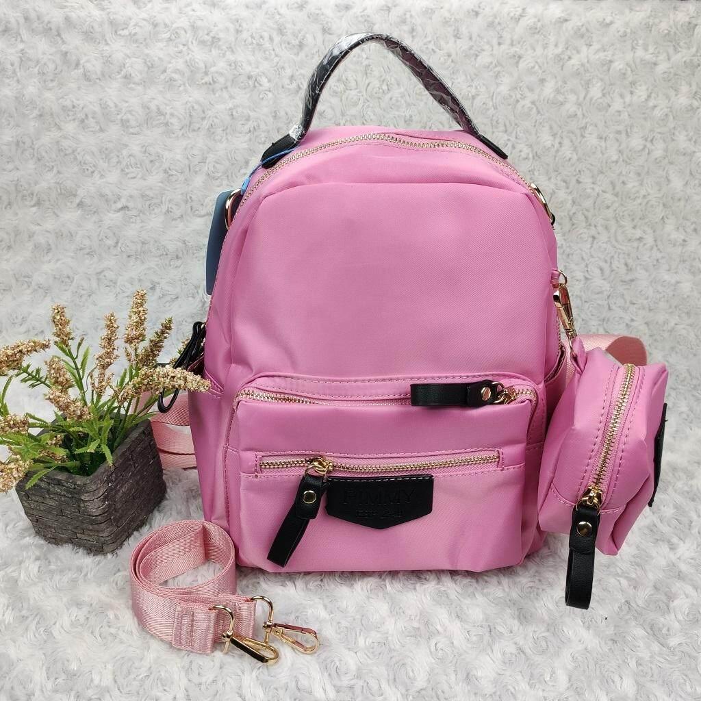 Tt0016 กระเป๋าเป้+สะพายข้าง พร้อมกระเป๋าใบเล็กแบรนด์ พิมมี  ขนาด 4.5*9*11 นิ้ว งานผ้ากันน้ำ สวยๆ   ปั๊มโลโก้ด้านหน้า จุของได้เยอะ  มีช่องซิปใส่ของด้านหน้า+ช่องใส่ของด้านข้าง  ปั๊มแบรนด์ใน สายยาวปรับได้.