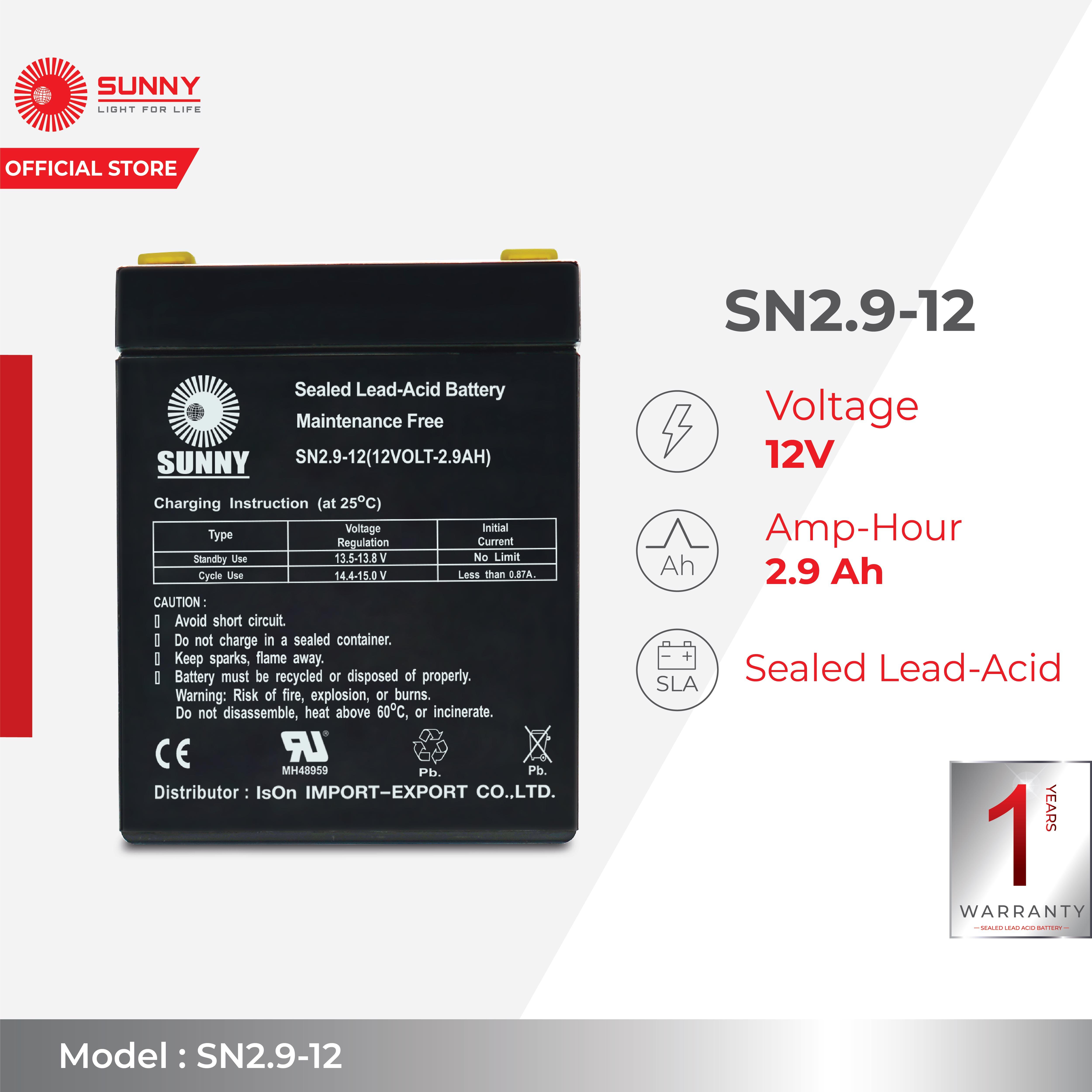 SUNNY เเบตเตอรี่เเห้ง SLA 12V 2.9Ah รุ่น SN2.9-12 Battery Sealed Lead Acid เหมาะสำหรับไฟสำรองฉุกเฉิน/UPS/ระบบเตือนภัย