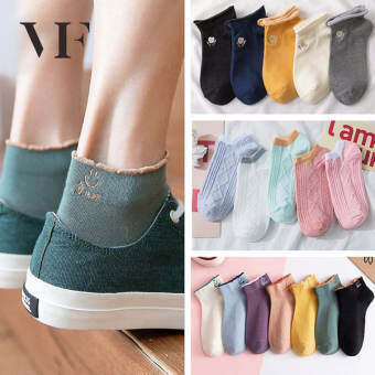 VFA240 ถุงเท้าผู้หญิงสไตล์ญีปุ่นถุงเท้าแบบสั้งสำหรับฤดูใบไม้ร่วงและฤดูหนาวนุ่มสบายน่ารัก【A pair】