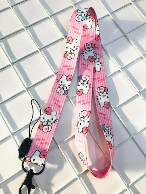 สายคล้องคอ สายคล้องบัตร ห้อยโทรศัพท์ ลาย Hello  Kitty  Pink  น่ารัก มีก้ามปู มีห่วงเล็ก ถอดได้ ขนาดกว้าง 20 มิลลิเมตร ผลิตจากผ้า อย่างดี มีบริการเก็บเงินปลายทาง Npnn.
