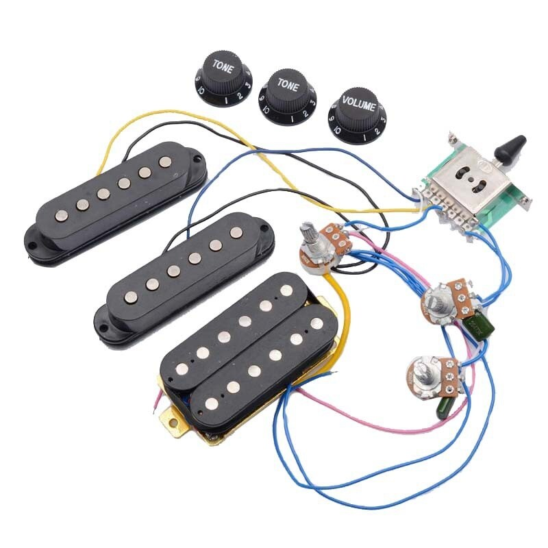 ST Electric Guitar Pickup Wiring Harness Prewired 5-Way Switch 2T1V Control SSH Pickup for Black