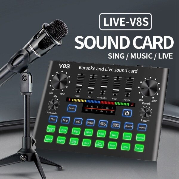 Bảng giá V8S Phone Sound Card Set Bluetooth Microphone Live Broadcast Equipment Computer Universal Microphone Voice Changer Phong Vũ