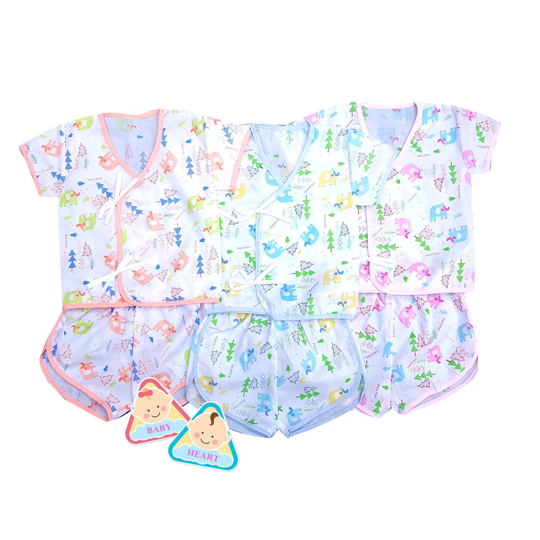 ราคา Baby heart ชุดเสื้อเด็กอ่อนแรกเกิด แบบผูกหน้า3 ชุด