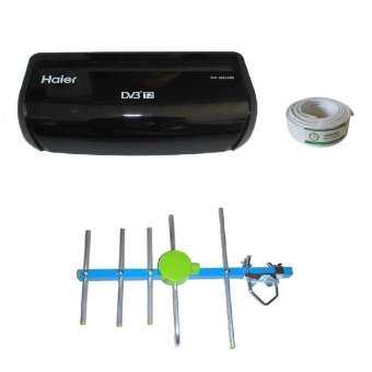 ส่งฟรี  Haier กล่องทีวีดิจิตอล  กล่องดิจิตอลทีวี กล่องดิจิตอล  ชุดแพ็คคู่กล่องรับสัญญาณดิจิตอลทีวี + One box home 5E เสาอากาศดิจิตอลทีวี ภายนอกอาคาร  มีสายRG6 10 เมตร (หาก Haier หมดจะให้กล่องดิจิตอล Samart แทน) สินค้ารับประกัน 1 ปี