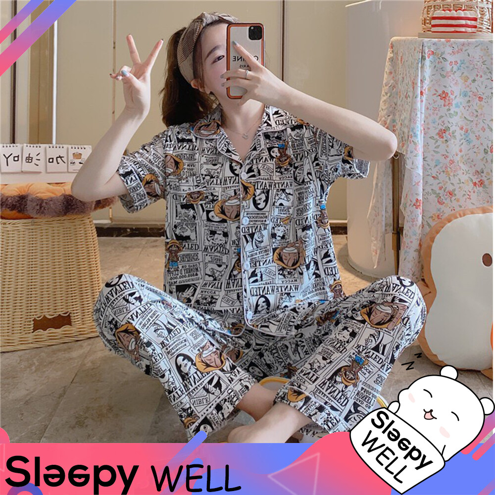 Sleepy Well ชุดนอน ชุดนอนผู้ญิง ชุดนอนผู้ชาย ?ชุดนอนแขนยาว ขายาวผ้านุ่ม ลายวันพีช ชุดนอนลายการ์ตูน ใส่ได้ทั้งหญิงและชาย Free Size พร้อมส่ง.