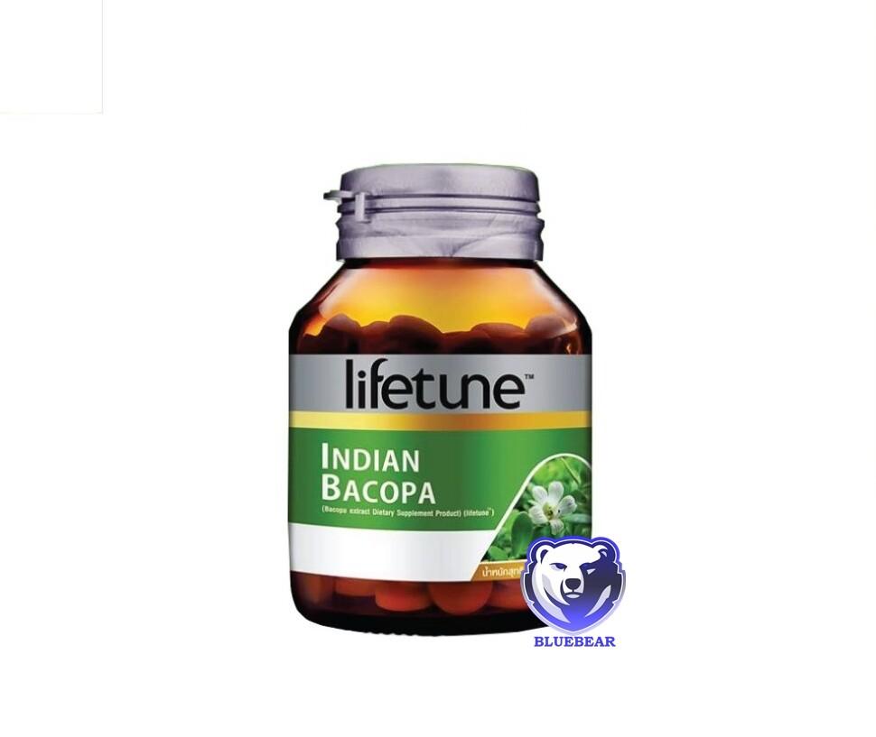 ผลิตภัณฑ์เสริมอาหาร พรมมิ lifetune indian bacopa  บรรจุ 60 เม็ด 1 ขวด
