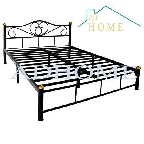 Adhome เตียงเหล็กคุณภาพ ขนาด 5 ฟุต ขา 2 นิ้ว รุ่น Lotus สีดำ By Ad Home Furniture.