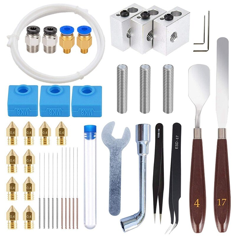 Giá 42 Pcs 3D Printer Accessories Kit, 10 Nozzle + 3 Heater Block + 3 Throat Tube + 3 MK8 Silicone Socks + 10 Cleaning Needle + Other Parts Compatible with MK8 3D Printer