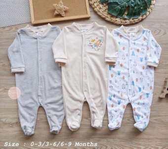 Orange Kids ชุดหมีแขนยาว คลุมเท้า แพ็ค 3 ชุด (แรกเกิด - 9เดือน) สุดคุ้ม **แนะนำเทียบไซส์ชุดกับน้ำหนักตัวน้องค่ะ**-