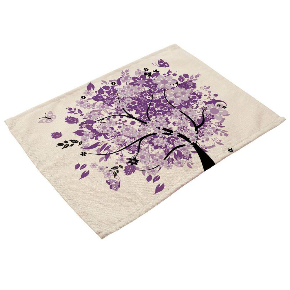 Purple Tree Printed Linen Placemats For Kitchen Washable Table Mats Non-Slip Heat Insulation Dining Table Mats For Teacups Table Runner 42x32cm 5 By Sunnny2015.