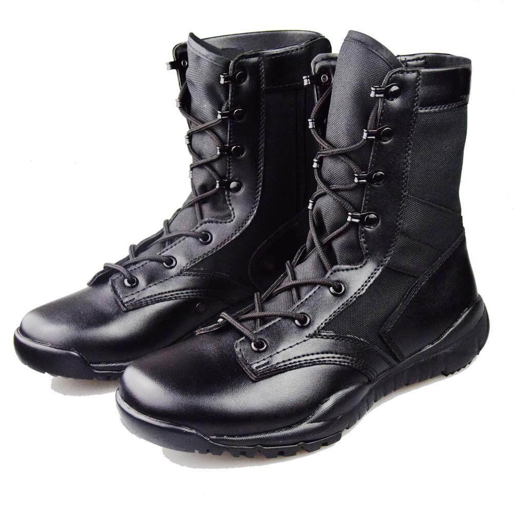 ผู้ชาย 025-Br1 สีดำรองเท้าคอมแบทสำหรับเดินทะเลทราย, รองเท้าบูทยุทธวิธีทหาร, Lace Up รองเท้าบูทบุรุษ, น้ำหนักเบาทำงานข้อเท้าบูทผู้หญิงฤดูใบไม้ร่วง (สีดำ) By Smiler.