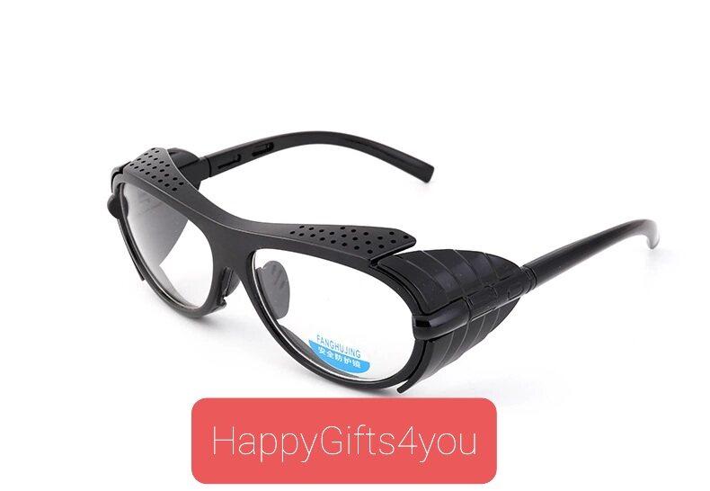 แว่นกันลม แว่นกันฝุ่น เลนส์ใส กรอบดำ ป้องกันสิ่งแปลกปลอมเข้าตา สี โปร่งใส-